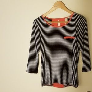 Striped top with pink details